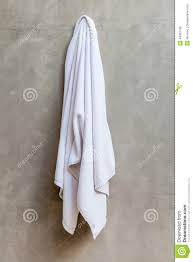 hanging white towel. White Towel Is Hanging On The Exposed Concrete Wall In Bathr L