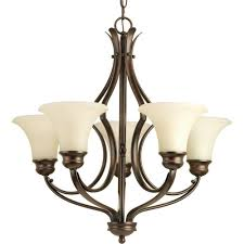progress lighting applause collection 5 light antique bronze chandelier with natural parchment glass shade