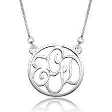 925 sterling silver dangle round monogram letter circle custom made any initial pendant necklace