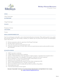 Objective Statement For Resumes Fascinating Medical Technology Resume About Technologist No 78