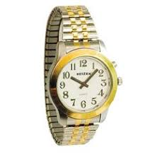 mens chrome braille and talking watch exp band watches and band talking watch mens 2 voices bi color expans band