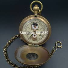online get cheap wind up pocket watch aliexpress com alibaba group r number dial double open hollow case copper wind up mechanical pocket watch vintage tourbillon moonphase men watch h199
