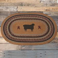 details about heritage farms sheep stenciled country cottage oval slice braided jute rug