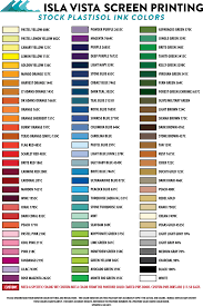 Ink Color Chart Isla Vista Screen Printing Embroidery