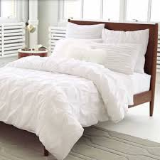 organic cotton pintuck duvet cover shams white