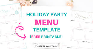 Holiday Party Menu Template Free Printable Saturdaygift