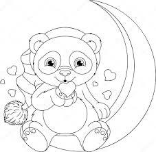 Schattige Panda Kleurplaat Panda Kleurplaat Stockvector Malyaka