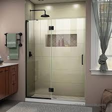 dreamline unidoor x 54 in w x 72 in h frameless hinged shower door in satin