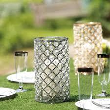 Beaded Tea Light Candle Holders 2 Pack 9 5 Tall Metallic Silver Crystal Beaded Pillar