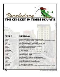 Printable Vocabulary Word List With Definitions For The Cricket In