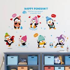 happy penguin wall art decal sticker cute cartoon penguin family mural wallpaper decor kids room nursery wall decoration vinyl decals walls vinyl for wall  on penguin wall art for nursery with happy penguin wall art decal sticker cute cartoon penguin family
