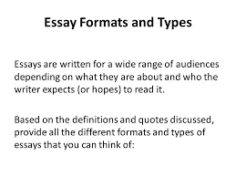 what is an essay definitions quotes types and parts writing  4 essay formats and types