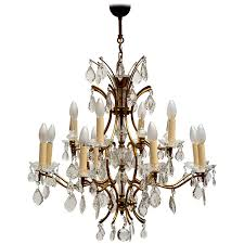 italian brass and crystal chandelier for