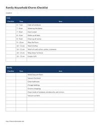 Family Household Chores Checklist Template Literals React Vuezcorp