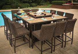 agio balm patio furniture incredible luxury high top fire pit table set 8 bar chairs ml pertaining to 9