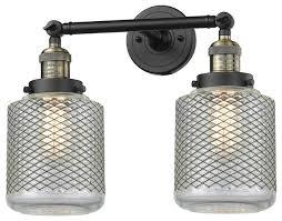 2 light bath light vintage wire mesh stanton with vintage bulbs industrial bathroom vanity lighting by plfixtures