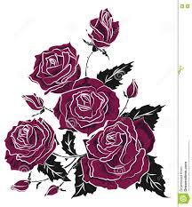 фиолетовый эскиз татуировки букета роз флористический триангулярный