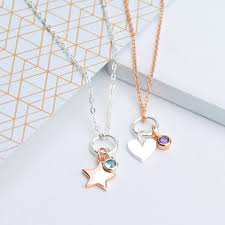 rose gold and silver charm and birthstone necklace