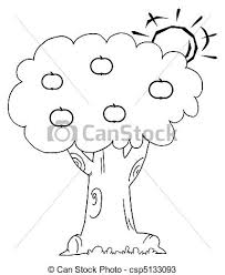 apple tree clipart black and white. sun behind an apple tree - csp5133093 clipart black and white