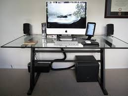 furniture modern glass top computer desk design with white keyboard and speakers set also beautiful handle black idea and white wall paint colo modern