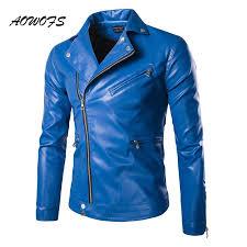 2018 aowofs fashion mens leather jackets blue black slim fitted blouson jackets coats designer punk biker for men spring 5xl from paluo 54 93 dhgate com