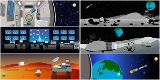 Контрольный центр управления полетом Иллюстрация вектора старта   Контрольный центр управления полетом Иллюстрация вектора старта Ракеты Станция и космическое пространство Иллюстрация вектора