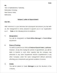 Appoint Letter Format Lovely 31 Appointment Letter Templates Free
