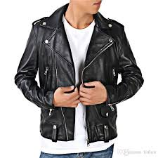 new slim type men s leather sheep skin leather motorcycle jacket lapel oblique zipper jacket short paragraph tide dress leather jackets men men jacket from