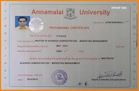 Certificate Sample Annamalai University Sample Degree Certificate