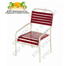 windward aruba style stacking aluminum vinyl strap patio dining chair w arms