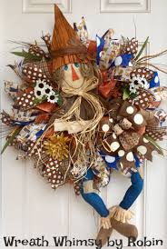 Fall Burlap Mesh Scarecrow Wreath in Blue, Orange & Brown, Front Door Wreath ,