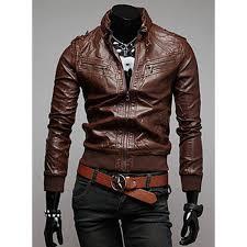 trendy slimming long sleeves stand collar multi zipper design shoulder mark embellished solid color mens leather jacket 01738 aq