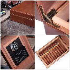 amazon cedar cigar humidor mgacra leather cigar box with hygrometer and humidifier portable travel cigar humidor holds 10 20 cigars home kitchen