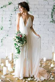 elope wedding dress. simple deep v-neck sweep train ivory wedding dresses with straps wd010 elope dress n