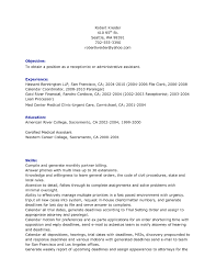 Fascinating Receptionist Resume Objective Sample For Resume For