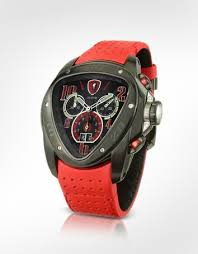 tonino lamborghini spyder black and red chronograph watch the sporty yet sophisticated spyder chronograph watch by tonino lamborghini features swiss chronograph movement a daring red perforated leather band and a
