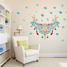 blue flowers feather animals head wall decal home decor living