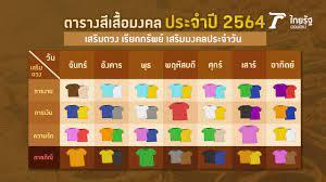 สีเสื้อมงคล 2564/2021 ใส่เสื้อเสริมดวง เรียกทรัพย์ โชคดีตลอดทั้งปี
