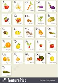 alphabet picture cards illustration of fruits and vegetables alphabet cards