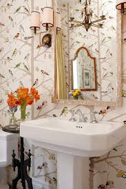 Great Eclectic Bathroom With Schumacher A Twitter Wallpaper, White Pedestal Sink,  Pearl Mirror And Black Pedestal Table.