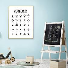 Accent your little one's woodland bedroom or nursery with our animal tracks poster. Animal Tracks Woodland Prints Black White Canvas Poster Outdoor Adventure Nursery Wall Art Picture Painting Kids Room Decor Daisy S Corners