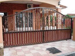 metal entrance gate ideas for contemporary home with popular exterior paint color schemes