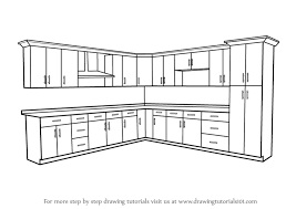 simple kitchen drawing.  Kitchen Learn How To Draw Kitchen Cabinets Furniture Step By  Drawing  Tutorials In Simple L