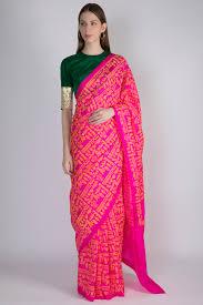 Green Saree With Pink Blouse Design Masaba Buy Masaba Gupta Lehenga Saree Anarkali House Of