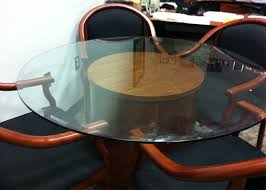 round glass conference table wood base clear glass