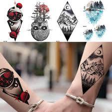 Space Man Peak Temporary Tattoo Stickers Women Body Arm Black Waterproof Lovers Tatoos Men Wrist Ghost Fake Tatoos Makeup Tips