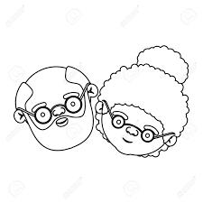 ひげとの祖父の老夫婦とメガネとカーリーのお団子ヘアスタイル ベクトル