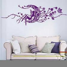 large moon fairy flower vine wall decal