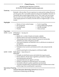 Excellent Resume For A Bartender Hospitality Example Sample Job