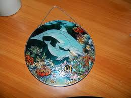 circle round dolphins turtle fish underwater sea life stained glass window decor